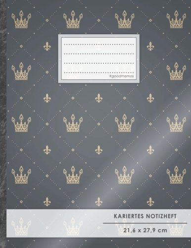 "Kariertes Notizbuch • A4-Format, 100+ Seiten, Soft Cover, Register, Mit Rand, ""Royales Muster"" • Original #GoodMemos Quad Ruled Notebook • Perfekt als Tagebuch, Skizzenbuch, Notizheft, Matheheft"