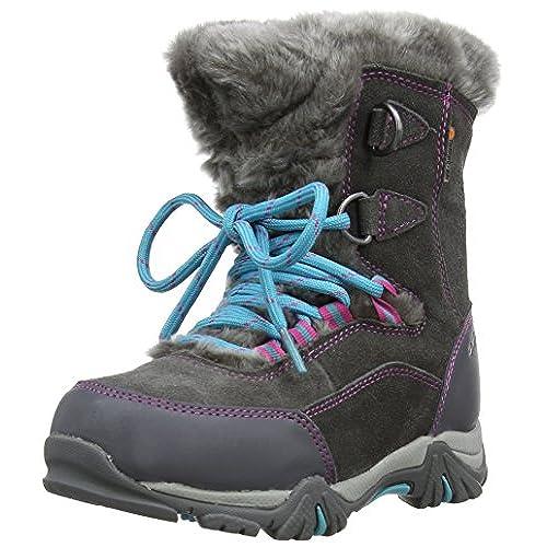 Hi-Tec ST Moritz 200 Waterproof, Girls' Snow Boots, Charcoal/Pink/Blue, 10  UK Child(28 EU)
