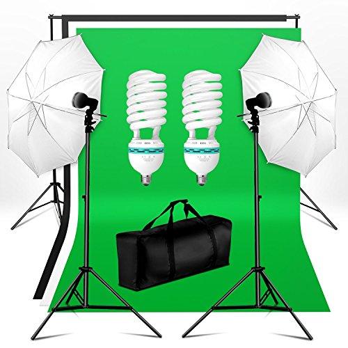 BPS Kit Paragua Fotografía Iluminación Estudio Fotográfico 250W 5500K   Soporte y 3 x Telón de Fondo(1.6x3m) + 2 x Paragua Reflector y Soporte(0.8 2m) + Bolsa, Equipo de luz continua para Vídeo y Fotografía