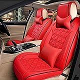 Ededi Pelle Set coprisedili cuscini, universale Set di Coperture per Seggiolini Auto per Anteriori e Posteriori 5 posto a sedere (Colore : Red)