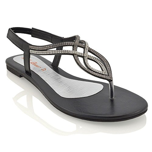 Essex Glam Damen Sandalette T-Spangen Zehentrenner mit gehäuften Schmucksteinen Schwarz