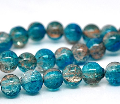 SiAura Material ® - 1 Strang Glasperlen Blau Kaffeebraun Crackle, D. 8mm, Ca. 105 Stück