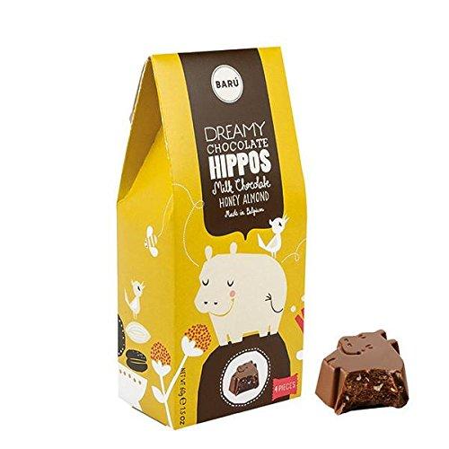 BARÙ - Flusspferde, Milch Schokolade mit Honig Mandeln 4 Stück Schokolade Honig