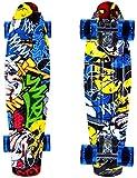 ENKEEO Skateboard Planche à roulettes Retro Cruiser 22 Pouces, 4 Roues Translucides PU, Table en Plastique Renforcé, Roulement ABEC-7, pour Fille Garçon et Adulte (Joker)