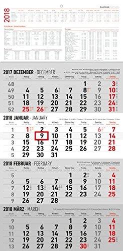 4-Monatskalender 2018 - Wandkalender / Bürokalender (30 x 60) - mit Datumsschieber - mit Jahresübersicht