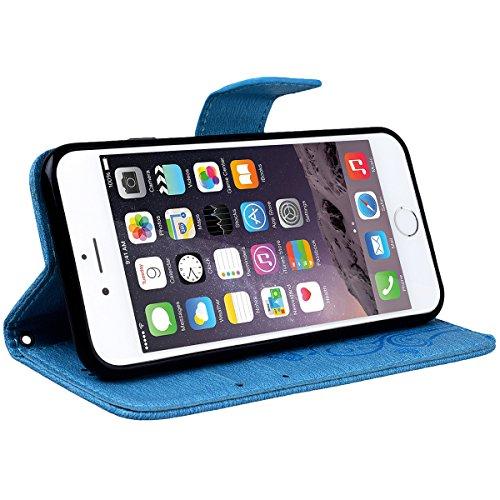 Custodia per iPhone 6 / iPhone 6S, VemMore Cover in Pelle Copertura Portafoglio Flip e Morbido TPU Silicone Case con Chiusura Magnetica Sottile Stent Supporto per Porta Carte di Credito Caso con Cintu Blu