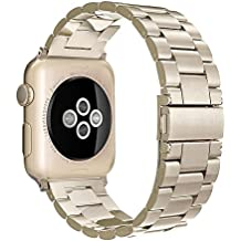 Simpeak Correa apple watch Series 3 / Series 2 / Series 1 Correa 38mm Correa de Acero Inoxidable Reemplazo de Banda de la Muñeca con Metal Corchete para Apple Watch Todos los Modelos 38mm, Dorado champagne