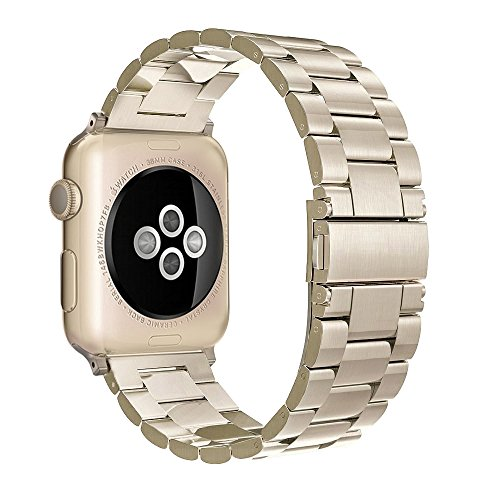 Apple Watch Edelstahl Armband,Simpeak Premium Band Straps für Apple Watch Series 1/2/3- Gr. 38 mm, Champagner-Gold