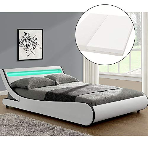 ArtLife Polsterbett Valencia komplett mit Kaltschaum-Matratze, Lattenrost und LED Beleuchtung im Kopfteil | 180 x 200 cm | weiß | Bett Doppelbett