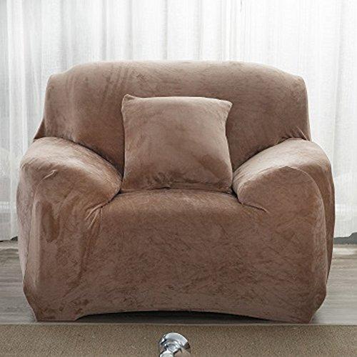 Dicke Sofaüberzüge, 1/2/3/4-Sitz-Überwurf, Sofa Schutzüberzug aus Samt. einfache Passform, Stretch-Material, Couch-/Bettüberwurf, camel, 1 Seater:90-140cm