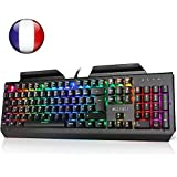 aLLreLi Clavier Gaming Mécanique USB Clavier de Jeu AZERTY avec 105 Touches LED RGB pour Joueur, dactylographes, etc