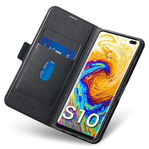 Galaxy-leder Etui (Aunote Galaxy S10 Hülle Galaxy S10 Schutzhülle Galaxy S10 6,1 Zoll Leder-Etui aus Leder Folio-Hülle Schutzhülle PU + TPU Soft Shockproof Flip-Cover und Ständer mit Kartenhalter (Schwarz))