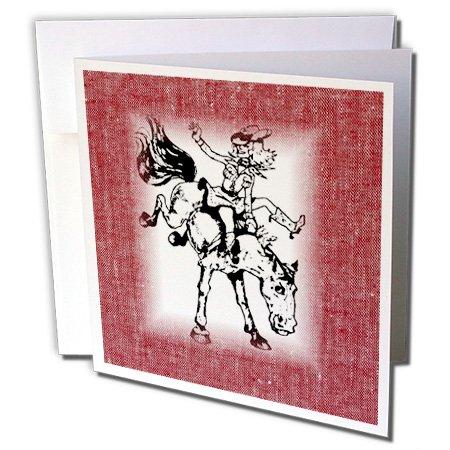 3dRose gc_163183_1 Grußkarten, Motiv Cowgirl auf Bronco auf rotem Denim, 15,2 x 15,2 cm, 6 Stück