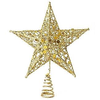 SODIAL(R) Ornamento del arbol de navidad arbol de navidad decorativo Cap Top arbol decorativo Festival del arbol(15CM estrella de oro de cinco puntas)