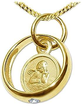 CLEVER SCHMUCK-SET Goldener kleiner Taufring mit Einhänger Engel rund und Zirkonia weiß glänzend 333 GOLD 8 KARAT...