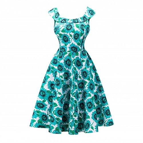IMUYI Women Classy Vintage Audrey Hepburn Style 1940's sans manches Rockabilly Robe de soirée 7Floral