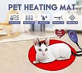 YSB Pet Heating Pad, Elektrische Heizkissen für Hunde und Katzen Heizmatte Warmmer Bett Warming Mat mit Auto On/Off & 7 Elektrische Temperatureinstellungen & Kauen - CE (S, red)