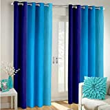 #4: Fabron India Long Crush Solid Door Curtains Blue - 5X4 (Set Of 2 Curtains)