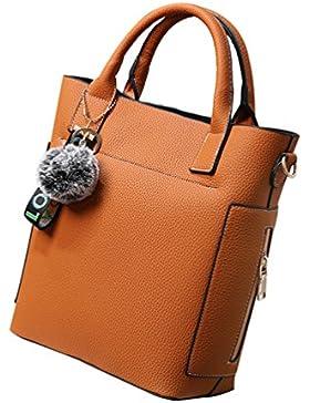 YouPue Frauen Stilvolle Handtaschen Eimer Taschen Damen Henkeltaschen Kunstleder Hairball Ornamente