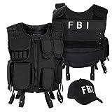 Black Snake SWAT FBI Security Police Agenten Kostüm Einsatzweste und Baseball Cap - M/L - FBI