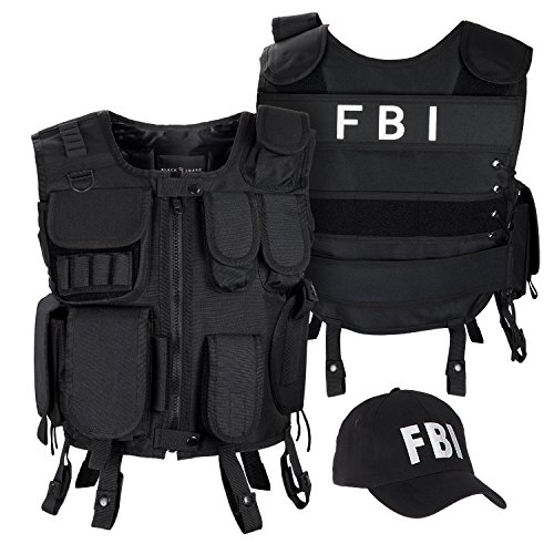 Black Snake SWAT FBI Security Police Agenten Kostüm Einsatzweste und Baseball Cap - XL/XXL - - Fbi Agent Kostüm Weste