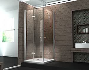 faltt r duschkabine 8 mm duschabtrennung eckeinstieg dusche echt glas 80 x 80 x 195 cm clap. Black Bedroom Furniture Sets. Home Design Ideas