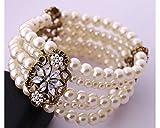 Glitz Floral Faux Pearl & Armbänder Armreifen für Mädchen/Frauen Party Wear