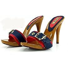 moda firmata ccd88 d28fc zoccoli con tacco donna - Amazon.it