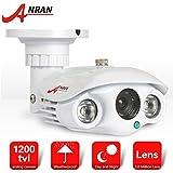 ANRAN 1200TVL 1/2.7'CMOS de vídeo cámara alta definición de vigilancia IR-CUT con 2pcs Array IR LEDs visión nocturna 98pieds (30m) impermeable IP66día/noche sistemas seguridad para el hogar color Blanco