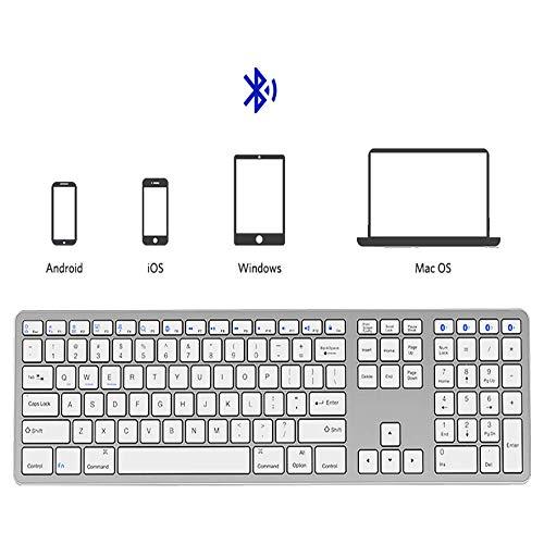 Preisvergleich Produktbild Mengen88 Bluetooth-Tastatur für mehrere Geräte,  tragbare 109-Tasten-Standardtaste mit DREI Tasten für die Schere-Fußtaste für Desktop / Laptop / Smartphone / Tablet