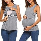 UNibelle Stillzeit Umstands-Top Schwangere Kleidung Lagendesign Ärmellos Stillen Top Grau XL