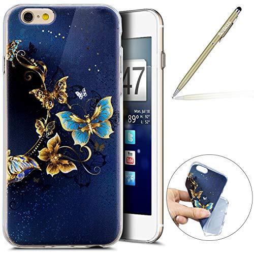 Herbests Kompatibel mit Handy Tasche iPhone 6S 4.7 Silikon Hülle Durchsichtige Schutzhülle Crystal Clear Transparent Ultra Dünn Handyhülle Silikonhülle Kristall Klar TPU Bumper,Gold Schmetterling