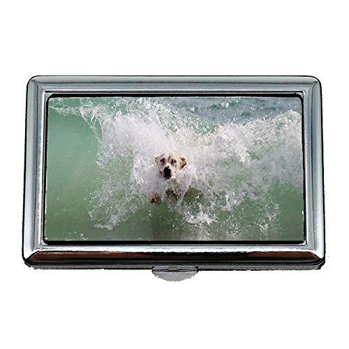 Custodia/scatola di sigarette, cane Wave Surf Water Beach Gioca a Wet Animal World, Porta biglietti da visita Porta biglietti da visita in acciaio inossidabile