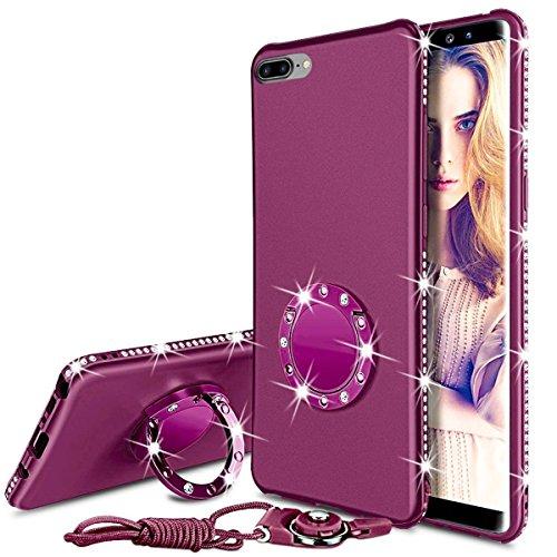 iPhone 8 Plus Hülle, iPhone 7 Plus Hülle, Bling Sparkly Diamond Strass Ständer Ring Halter Schlank Full Body Schutzhülle mit gehärtetem Glas Displayschutzfolie + Lanyard für iPhone 8/7 Plus -Violett