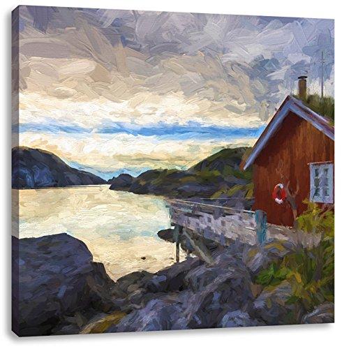 Sonnenaufgang am Fjord Norwegens Kunst Pinsel Effekt, Format: 40x40 auf Leinwand, XXL riesige Bilder fertig gerahmt mit Keilrahmen, Kunstdruck auf Wandbild mit Rahmen, günstiger als Gemälde oder Ölbild, kein Poster oder Plakat