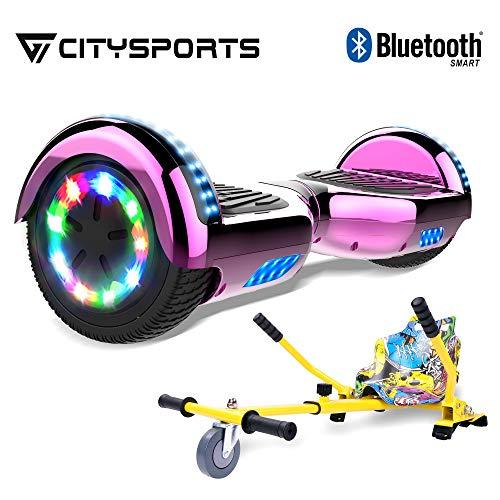 CITYSPORTS 6.5 Zoll Self Balance Scooter LED-Leuchten E-Skateboard Elektro Scooter HOVERKART(lila)*