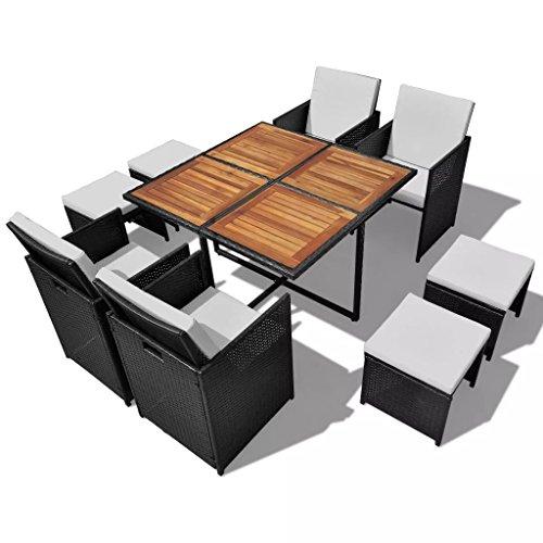 binzhoueushopping Mobilier de Jardin 21 pcs Noir mobilier Exterieur Largeur du siège 46.5 cm en Bois d'acacia Dimensions de la Table 109 x 109 x 74 cm (L x l x H) Résine tressée