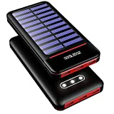 RLERON Batterie Externe 25000mAh Solaire Power Bank Chargeur LCD Display 3...