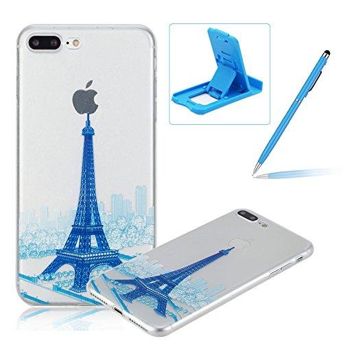 Per iPhone 7 Plus 5.5 Custodia morbido,Herzzer Mode Crystal Creativo Elegante fiori [Fuck]Quadro Dipinto Design trasparente case cover,Protettivo Skin in Liscio Smooth Toccare Unico Molto sottile Mod Blu Torre
