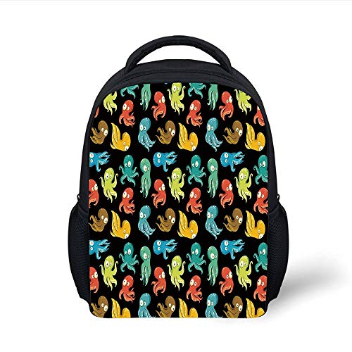 Kids School Backpack Octopus,Octopus Cartoon Drawing Style Funny Characters from Ocean Underwater Life Image Decorative,Multicolor Plain Bookbag Travel Daypack