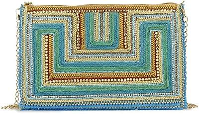 Bolso bordado pedrería tonos azules.28x19 cm.