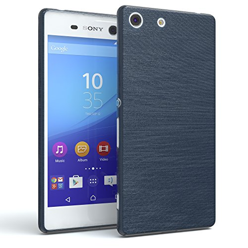 EAZY CASE Sony Xperia M5 Schutzhülle Silikon, gebürstet, Slimcover in Edelstahl Optik, Handyhülle, TPU/Soft Case, Backcover, Slikonhülle Brushed, Dunkelblau