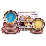 MamboCat 18tlg. Tellerset Ibiza für 6 Pers. kunterbuntes Tafel-Geschirr Kuchen-Teller klein + Speiseteller flach + Suppenteller tief Regenbogenfarben Rainbow