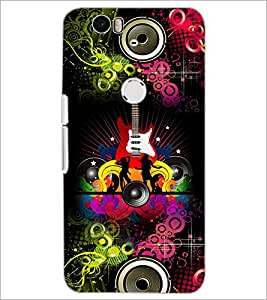 PrintDhaba Guitar D-4617 Back Case Cover for HUAWEI NEXUS 6P (Multi-Coloured)
