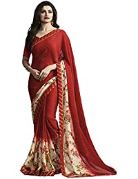 Tagline Women's Faux Georgette Saree With Blouse Piece (Tag1230 ,Red,Free Size)