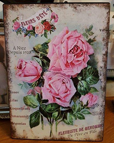 Antic Line Plaque Fleurs d'été 21 * 15 cm