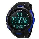Reloj digital impermeable para hombre, KanLin1986 Reloj LED digital deportivo para mujer Fecha de alarma Reloj impermeable con banda elástica(No presione ninguna tecla debajo del agua) (Azul)