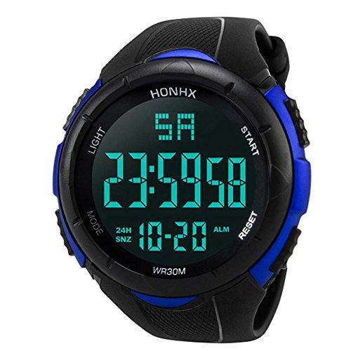 KanLin1986 Reloj Digital Impermeable para Hombre, Reloj LED Digital Deportivo para Mujer Fecha de Alarma Reloj Impermeable con Banda elástica(No presione Ninguna tecla Debajo del Agua) (Azul)