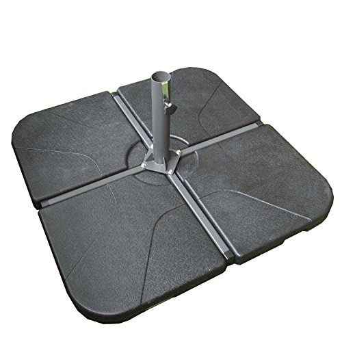 Base de parasol para jardín de 108 Kg compuesto de 4 losetas en color antracita (incluye cruzeta)   Tamaño: 105x105x7 cm   Material: Cemento recubierto de resina   Portes gratis