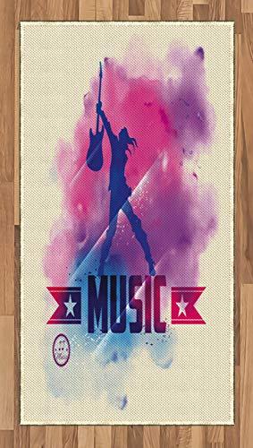 ABAKUHAUS Teen Zimmer Teppich, Rockstar und Gitarre, Deko-Teppich Digitaldruck, Färben mit langfristigen Halt, 80 x 150 cm, Lila Creme Rosa (Zimmer Teppiche Für Teens)